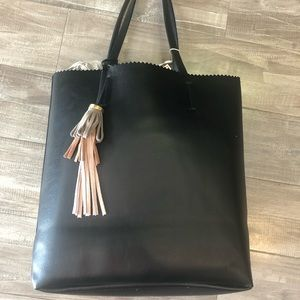 Shiraleah vegan leather tote with tassels
